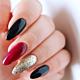 Czerwone paznokcie hybrydowe dopraw czernią i blaskiem!