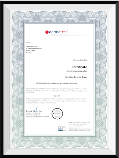 Certyfikat Dermatest
